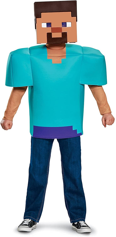 Steve Classic Minecraft Costume, Multicolor, Large (10-12)