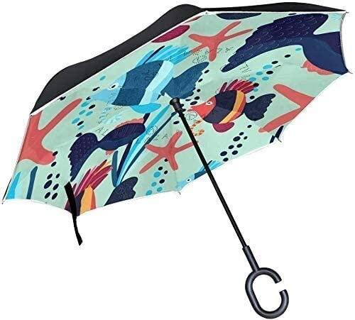 ASDF Inverted Umbrella Underwater Fish Starfish Double Layer Reverse Umbrella with C-Shaped Handle