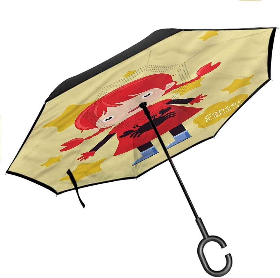 Kgblfd Zodiac Cancer Double Layer Folding Inverted Umbrella Astrology Symbol Star Anti-UV Windproof Straight Umbrella