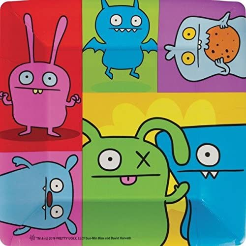 amscan Adorable Ugly Doll Birthday Party Square Dinner Plates Tableware, Multicolor, 9