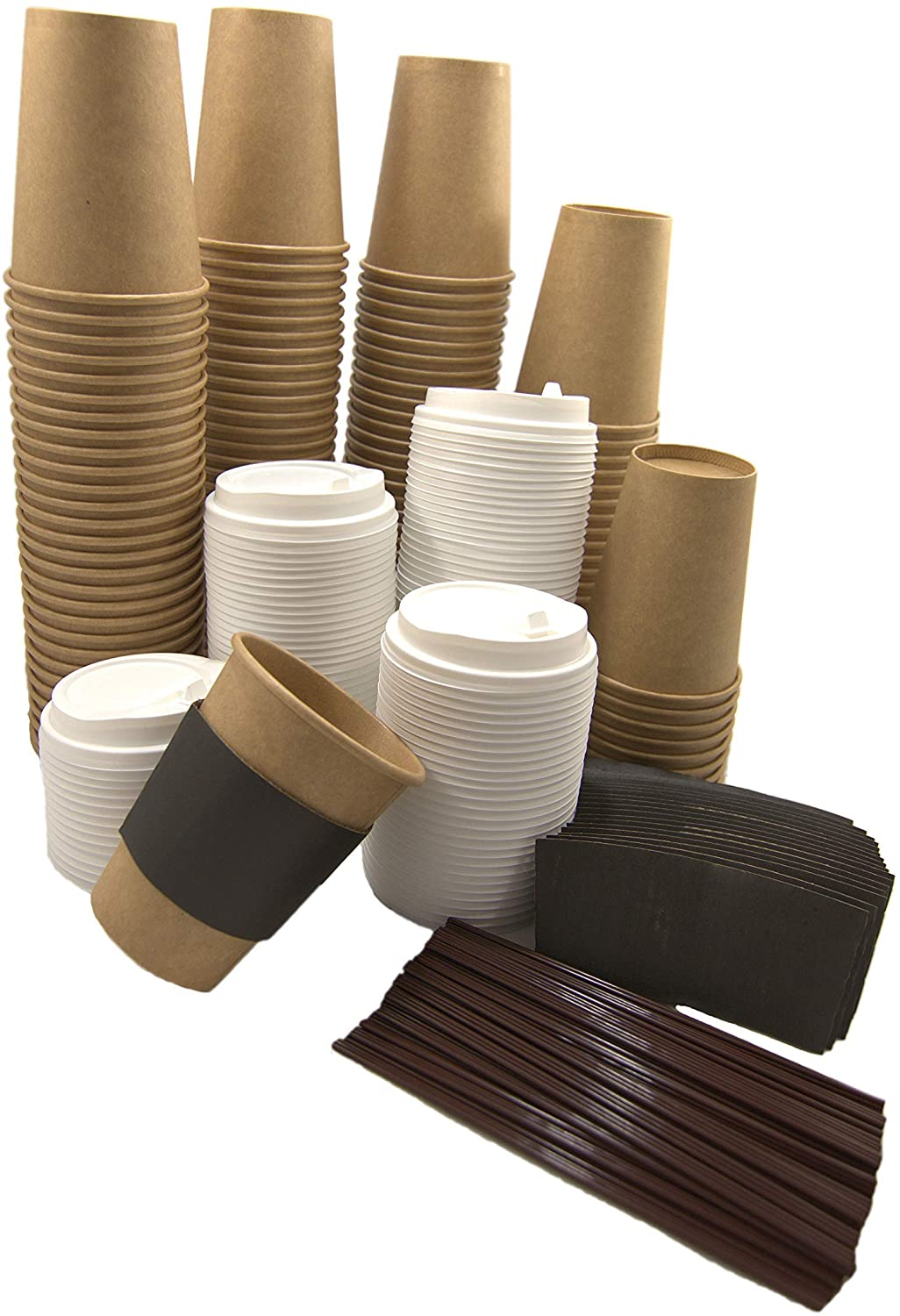 Calm Grounds to Go Disposable Hot Beverage Paper Coffee Cups with Lids, 12 oz, 120 count