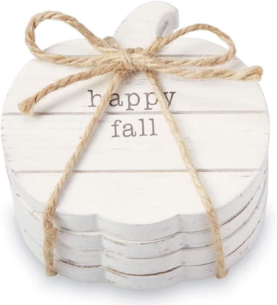 Mud Pie Happy Fall Pumpkin Planked Wood Coasters - Set of 4