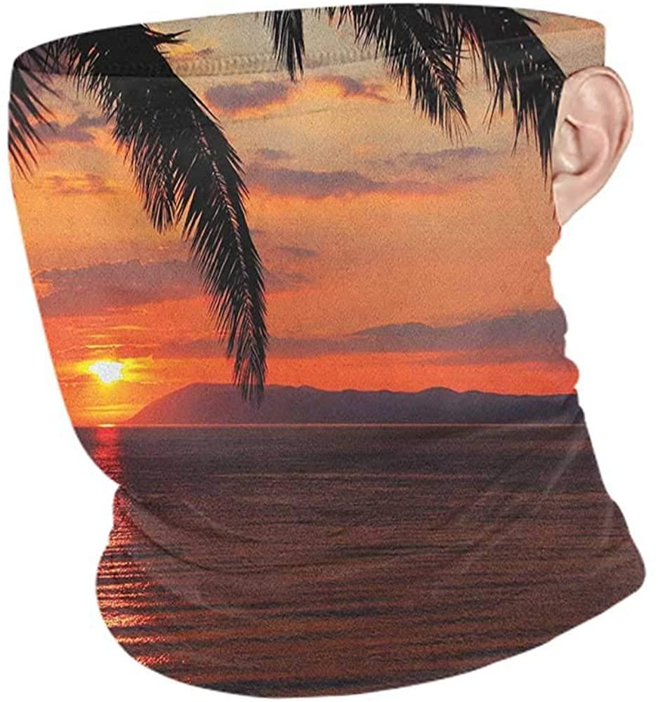 Neck Gaiters Summer Tropical Sunrise on Sea Palm Trees Exotic Holiday Honeymoon Romantic Beach Morning Scene,Sunscreen Bandana Orange Yellow 10 x 12 Inch