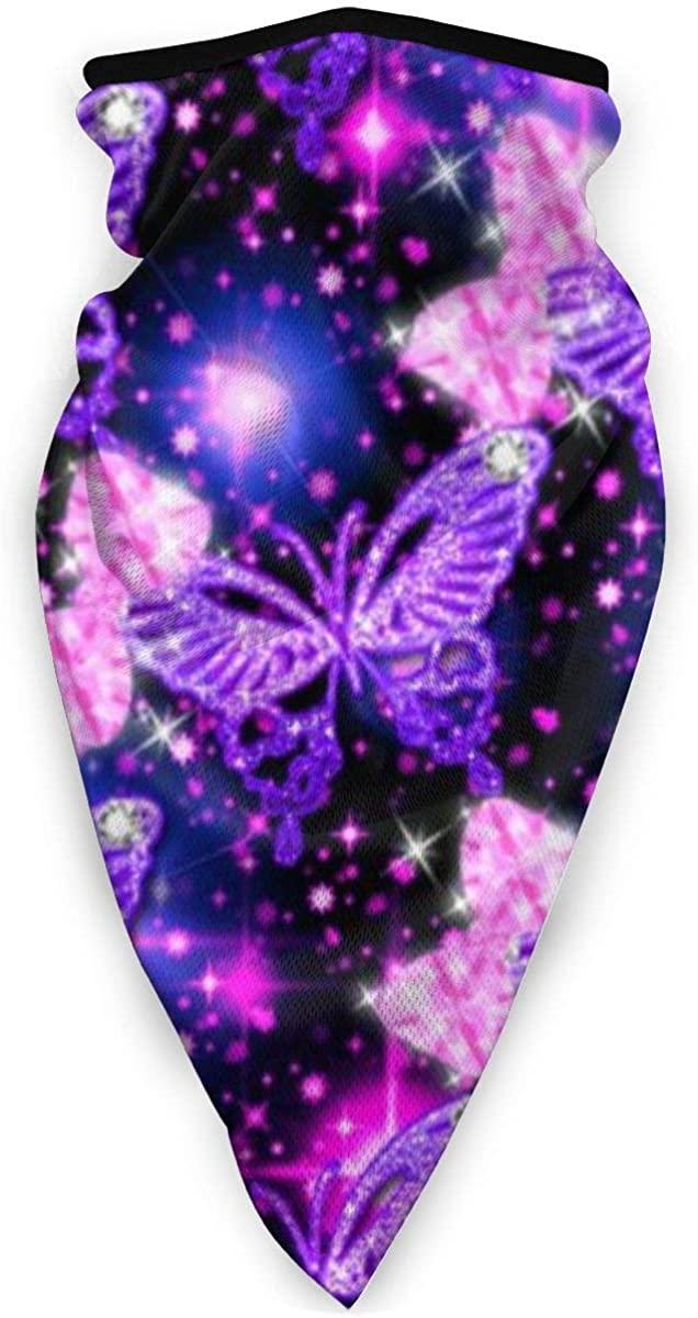 LOVE & LIKE Mother's Gifts Face Mask Purple Cute Butterfly Print Sun-Proof Fashion Bandana Headwear for Fishing