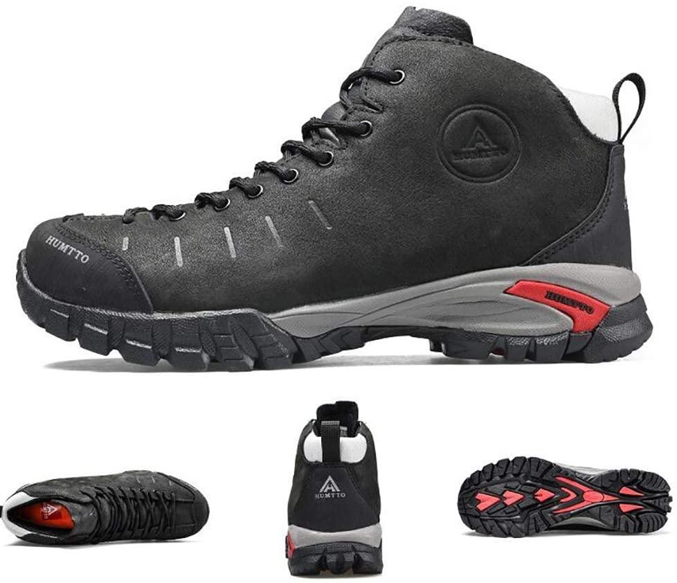 WAWB Men Hiking Boots Trekking Shoes Light Non-Slip Comfortable Cushioning Breathable for Climbing Trips,Black,44