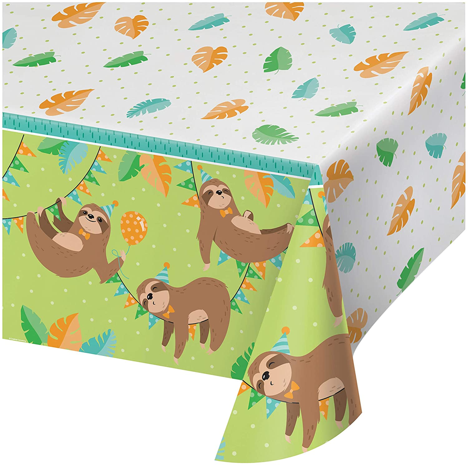 Sloth Party Plastic Tablecloth, 1 ct