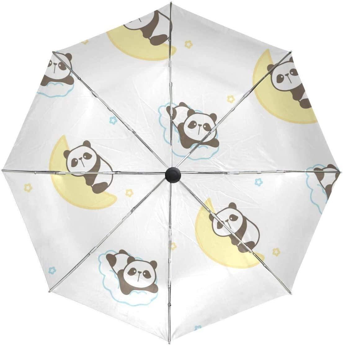 Automatic Umbrellas Cute Animal Pnada Moon Anti-Slip Windproof Compact Rain Umbrella for Women Men
