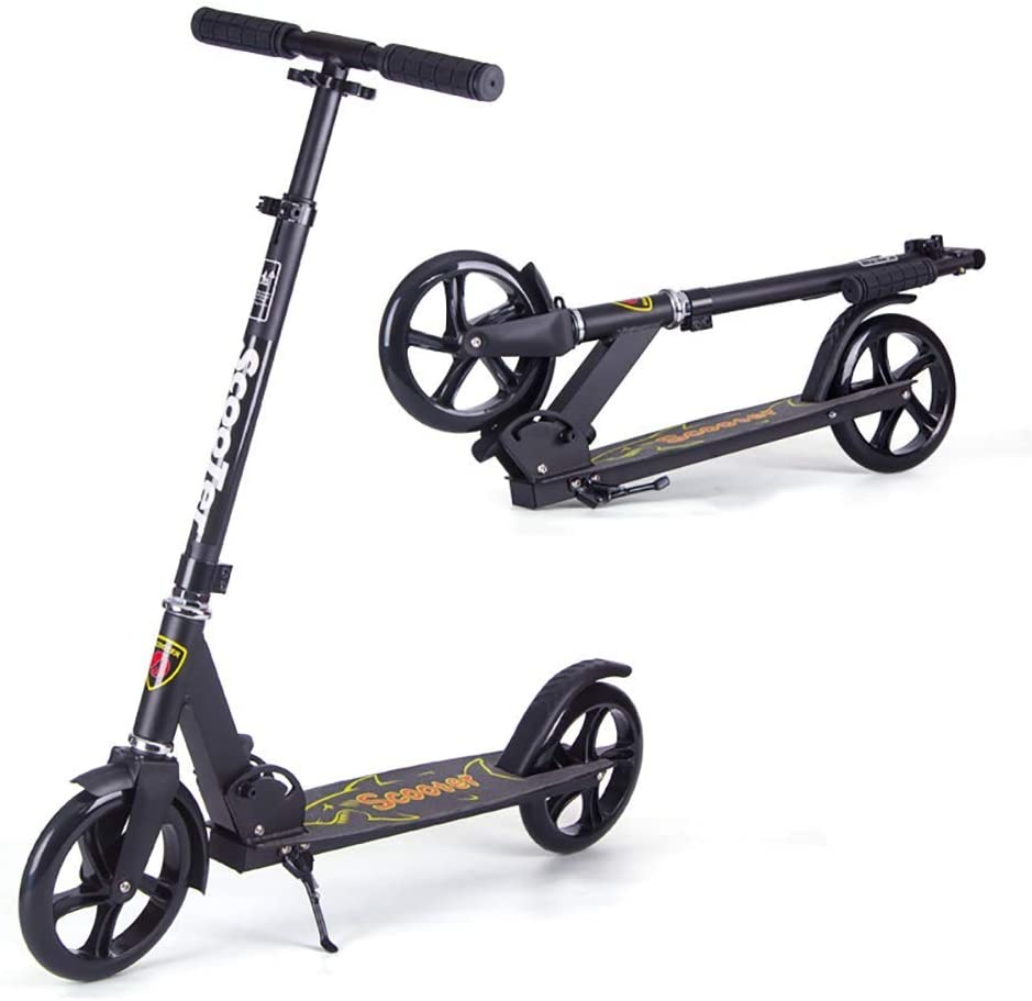 PLLP Adult Teen Kick Scooter with Footbrake, Commuter Scooters Birthday Gifts for Kids, Big Kids, Boys Girls, up to 100Kg, Non-Electric,Black