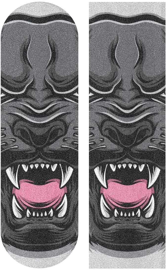Skateboard Grip Tape Sheet 33 X 9 Inch - Animal Head Cartoon Sandpaper for Rollerboard Longboard Griptape Bubble Free Skate Grip Tape