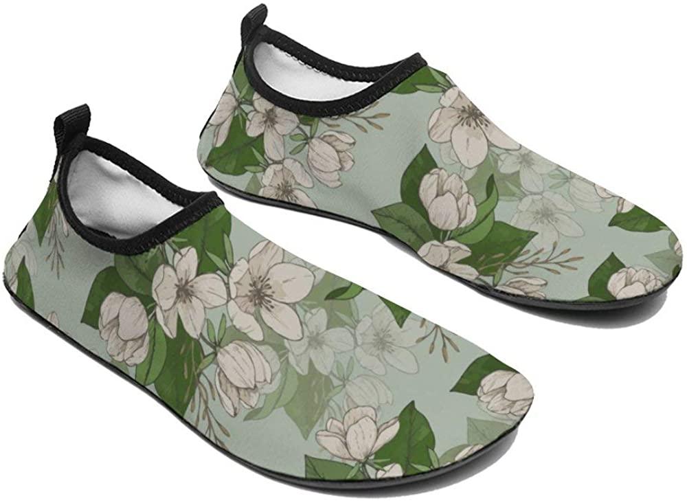 TAMENGI Womens and Mens Kids Water Shoes, Purple Blush Pink Flowers Quick-Dry Barefoot Shoes, Aqua Socks for Beach Swim Surf Yoga
