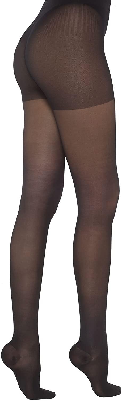Healthweir Sheer Compression Pantyhose for Women 15-20 (EU 18-22) mmHg - Medical Support Stockings for Varicose Veins Edema Nursing Flight Travel (4, Black)