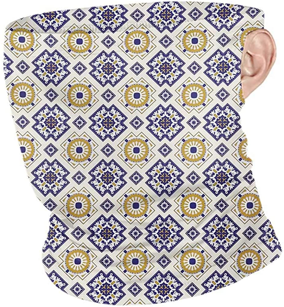 Neck Gaiters Summer Vintage Classic Victorian Pattern with Geometric Shapes and Floral Swirls,Unisex Seamless Rave Bandana Earth Yellow Dark Blue Beige 10 x 12 Inch