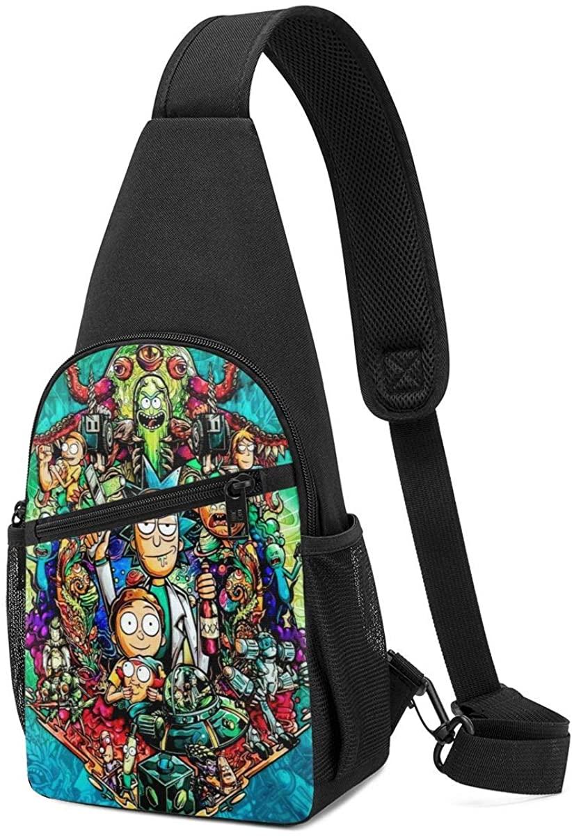 Mens Sling Bag Leather Chest Bag Shoulder Backpack Cross Body Travel,(Rick N Morty)