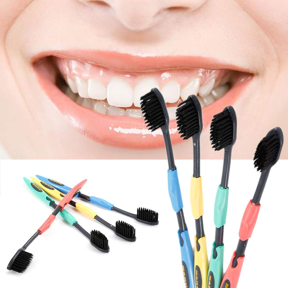 4 Pcs Bamboo Toothbrush Charcoal Soft Oral Dental Care Nano Brush Black Head Brush Adult Tooth Brush Travel Toothbrush