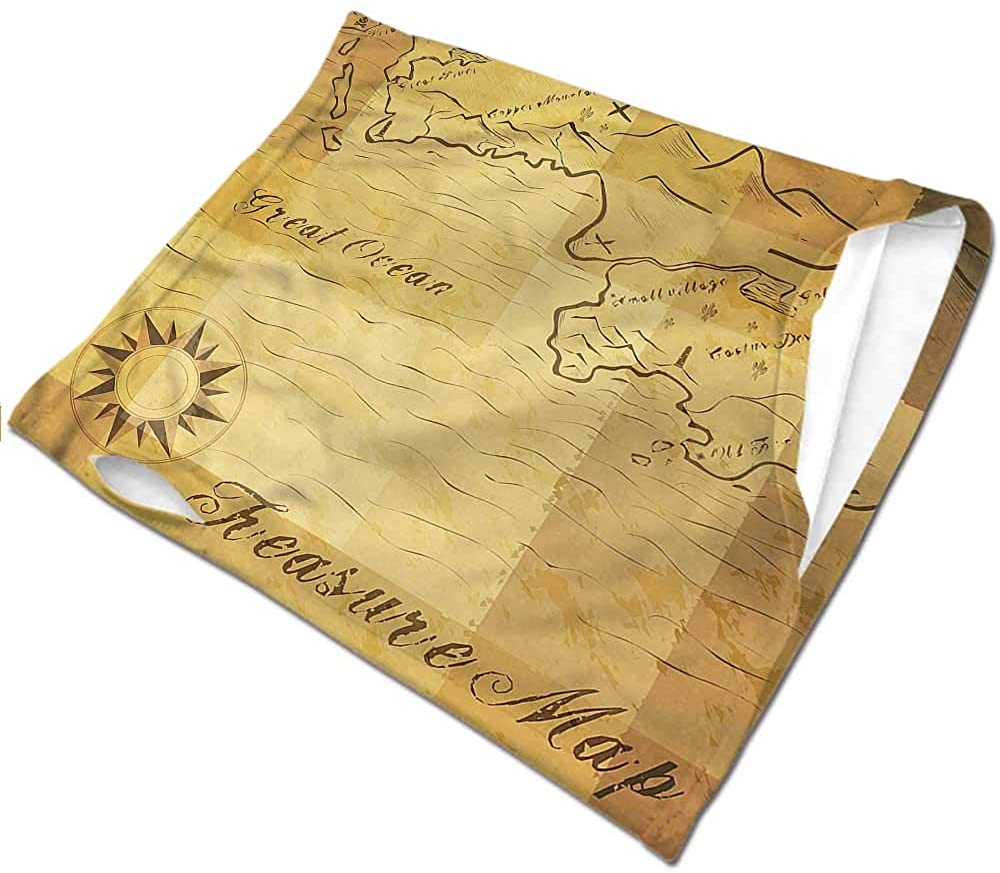 Neck Warmer Island Map,Great Ocean Treasure Map Seamless UV Protection