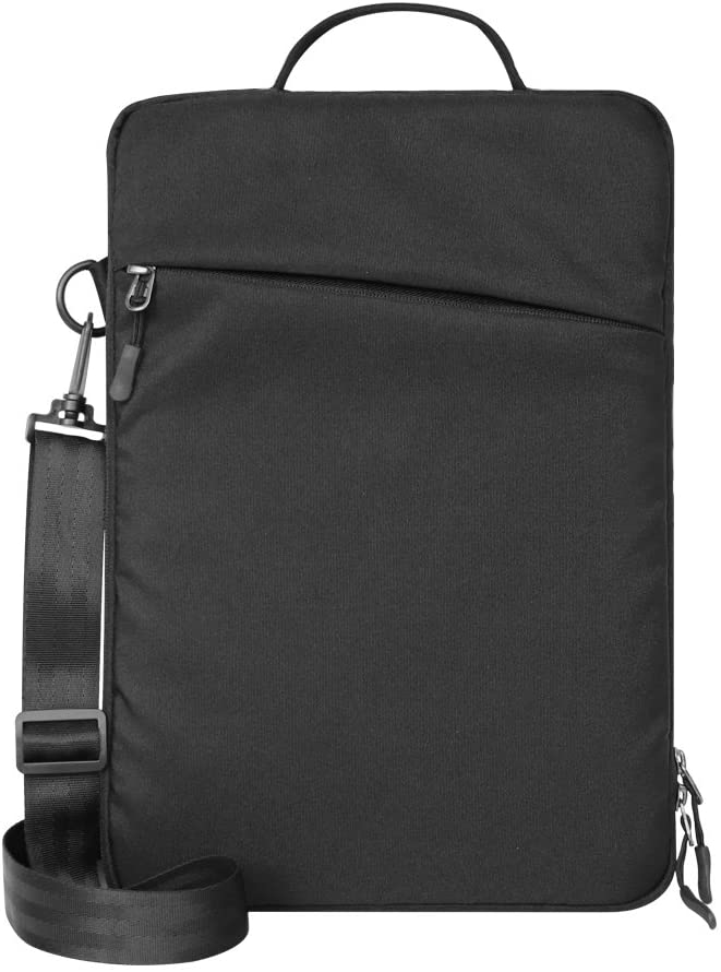 13 Inches Compact Laptop Sleeve for Surface/Ipad/Tablet, LS13B, with Removable Strap and 2 Extra Compartments on Front and Back, Nylon Fabric with Shockproof Interior Velvet Lining (Black Color)