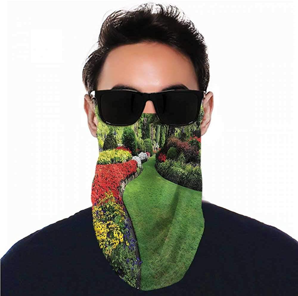 VIVIOTendance Face Cover Garden,Curvy Border with Grasses Breathable face Covers