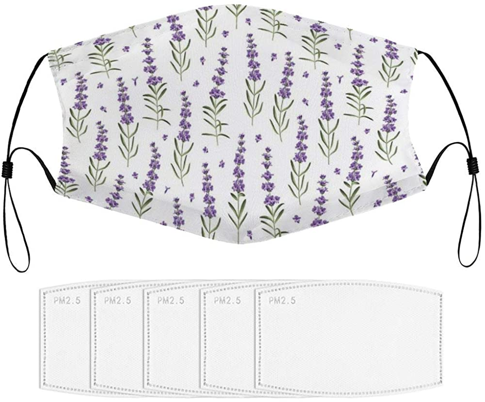Roupaze Children Face Masks Nature Pattern with Delicate Lavender Twigs Fresh Organic Plants Herb Windproof Face Mouth Cover Balaclavas for Kids with 5 Filter