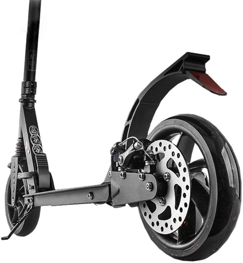 PLLP Outdoor Sports Scooter Kick,Folding Adult Kick with Adjustable Handle Bar, Black Dual Suspension with Handlebrake, 100Kg Load, Non-Electric Adult Child Toy Balance Car Mini