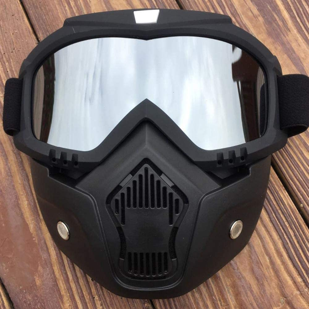 Home bathroom products Cycling Goggles, Retro Harley Helmet Goggles, face mask Goggles, Motocross Riding, Black Frame Vertical Chin, Mercury Film