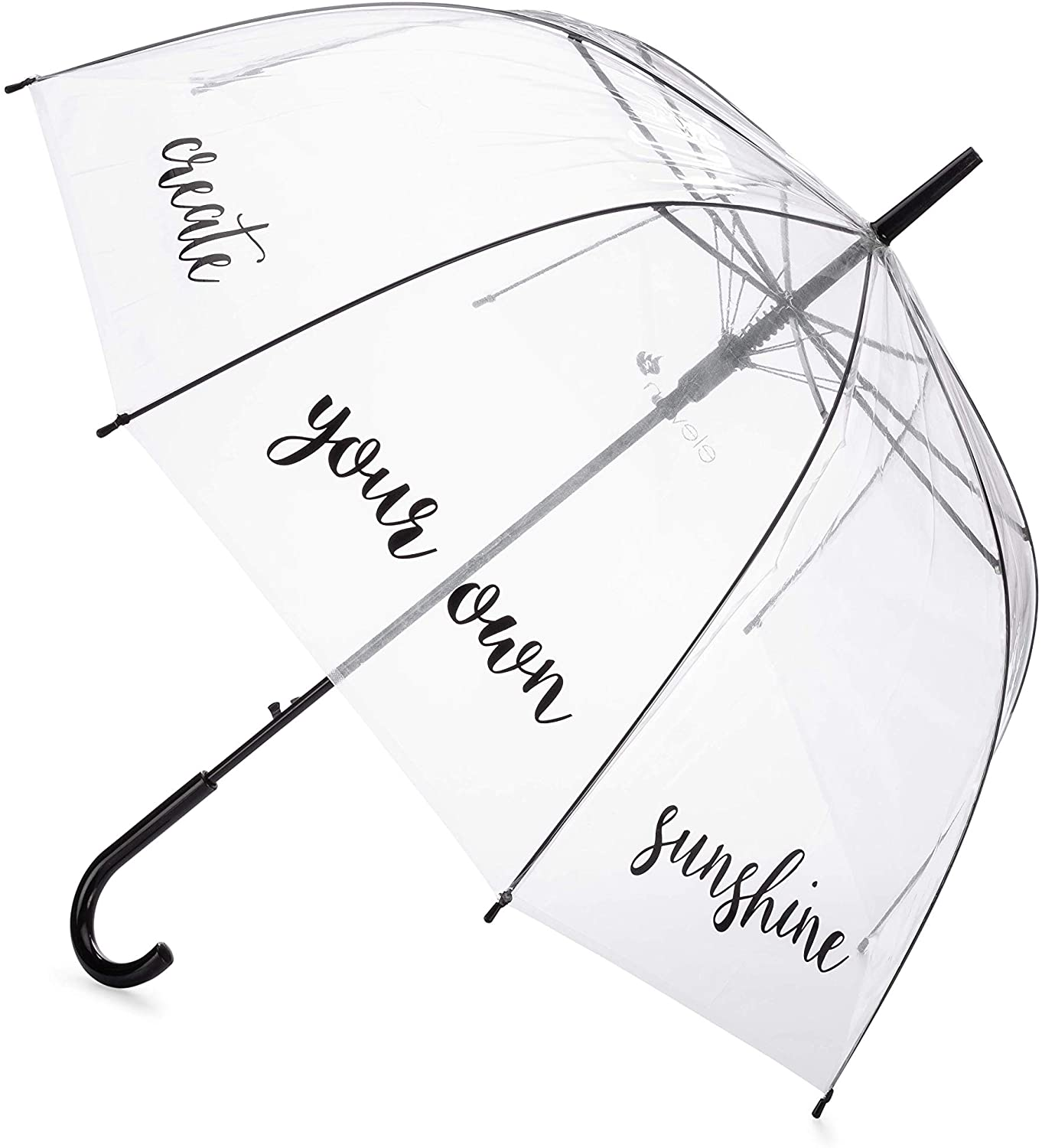 Eleven Squared Dome Shaped Umbrella for Kids, Adults, Teens - Clear Transparent See Through Protective Bubble Rain Canopy Handheld Umbrella with Black Handle, Create Your Own Sunshine Quote