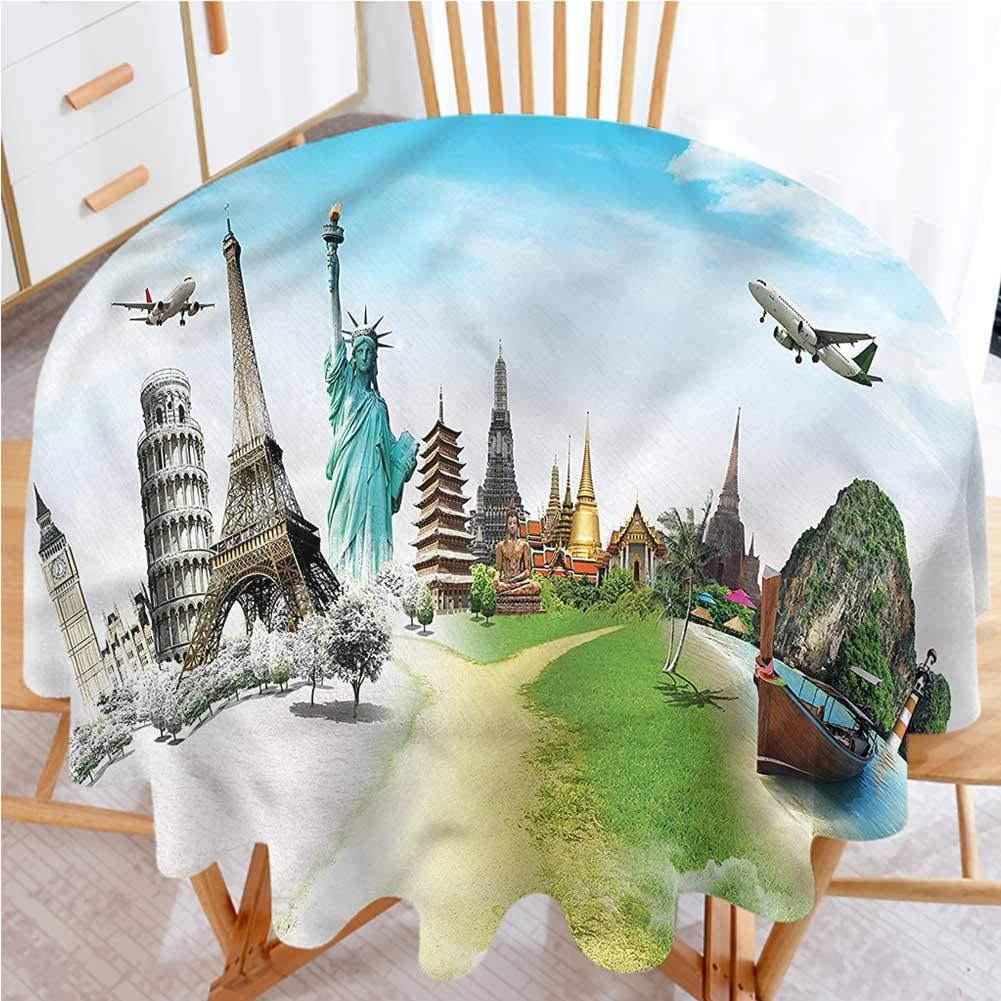 shirlyhome Circular Table Cover Travel Great for Party Picnic Airplane Flight Mountains (Diameter 50)