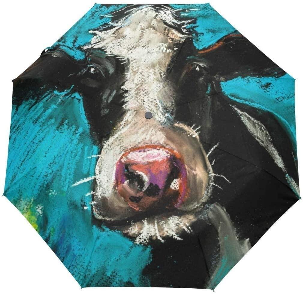 Automatic Umbrellas Watercolor Animal Cow Anti-Slip Windproof Compact Rain Umbrella for Women Men