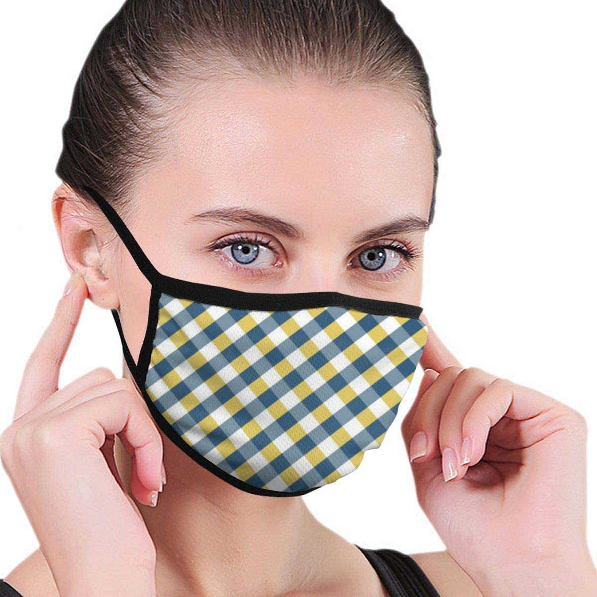 Anti Dust Breathable Face Mouth Mask Gingham Argyle in Blue Yellow Washable Face Mask for Cycling Camping Travel