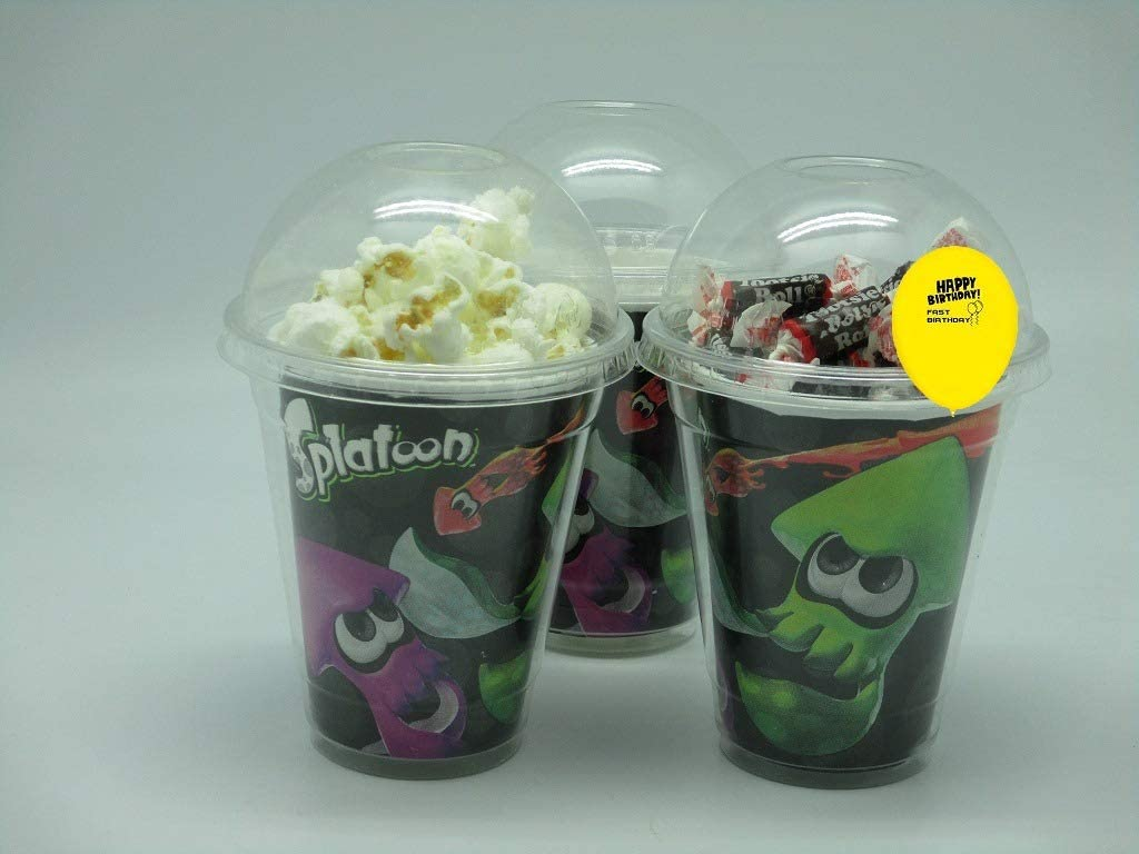 Set of 8 - Splatoon Party Cups, Popcorn Cups, Goody Bags, Favor Boxes