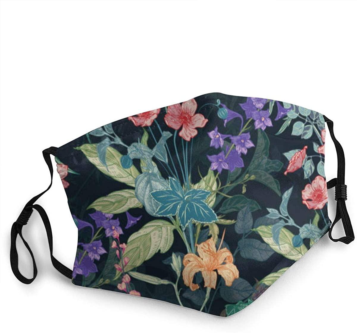 Fashion Protective Face Masks, Vintage Detailed Flowers() Unisex Dust Mouth Masks, Washable, Reusable Masks