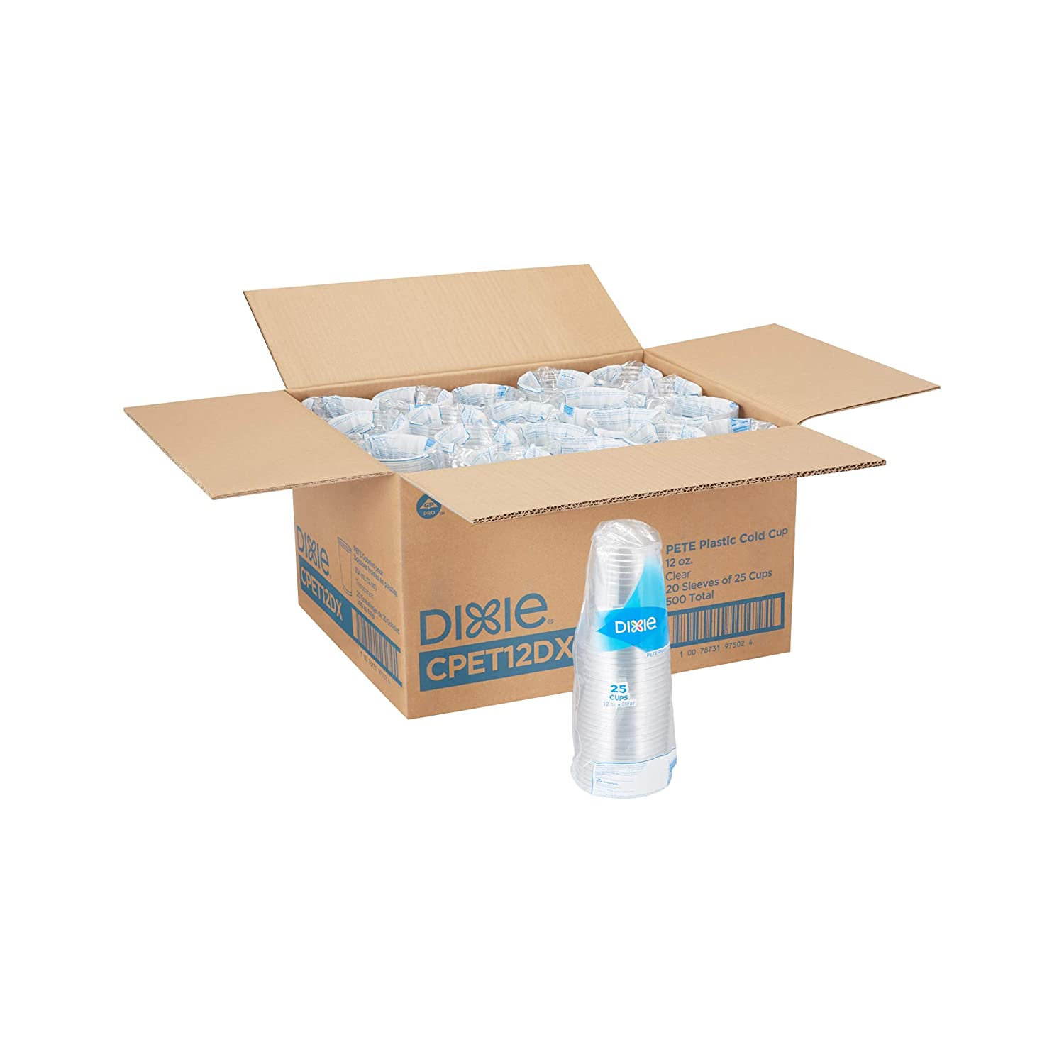 Dixie 12 oz PETE Plastic Cold Cups, CPET12DX, Clear, 25 Cups per Sleeve, 20 Sleeves per Case