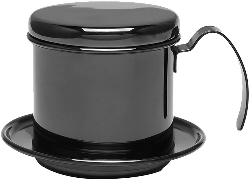 Drip Coffee Pot - Dewin Stainless Steel Drip Coffee Maker, Portable for Home, Kitchen, Office, Outdoor, 3 Colors (Color : Black)