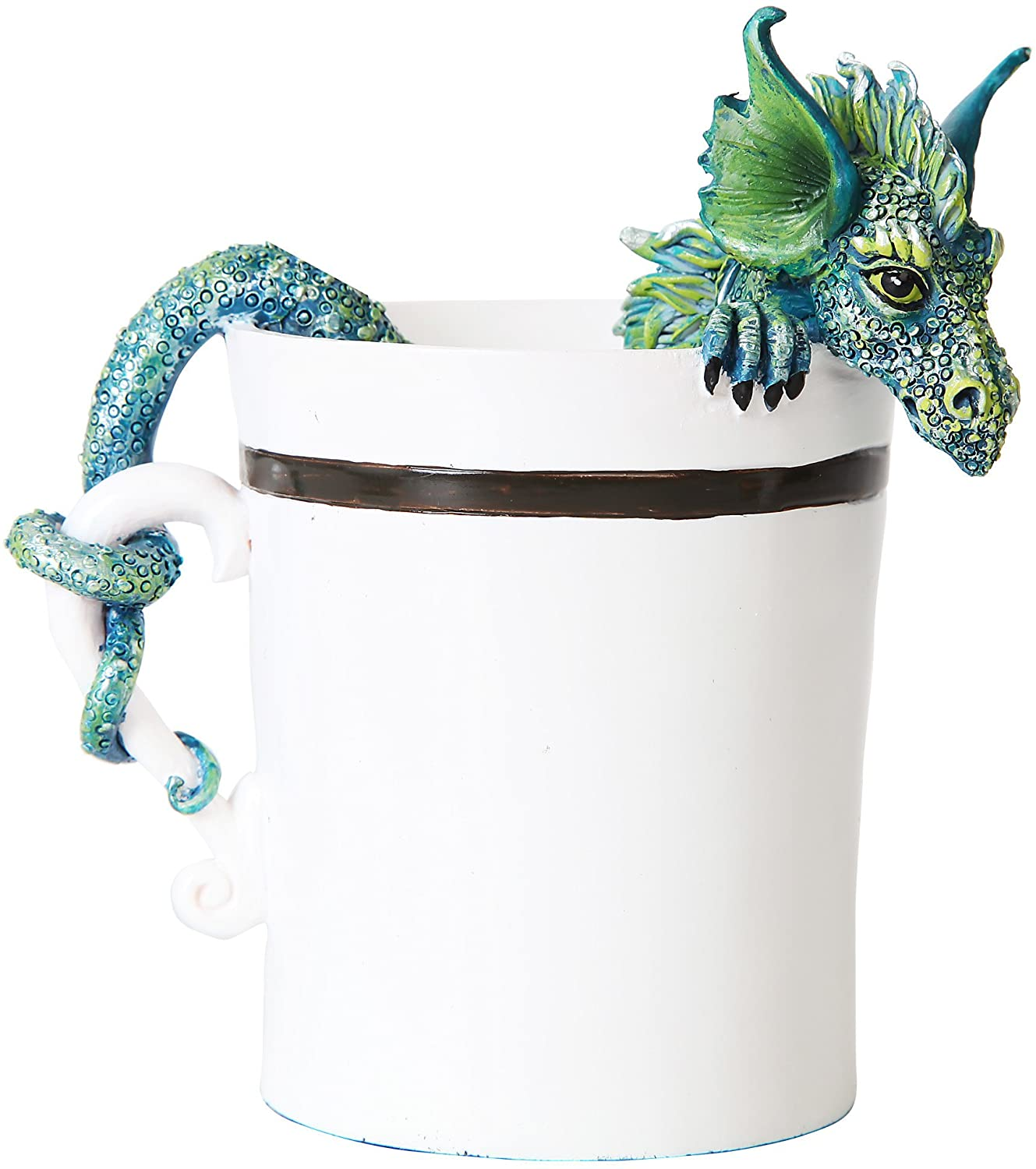PTC 4 Inch Good Morning Dragon in White Coffee Cup Statue Figurine