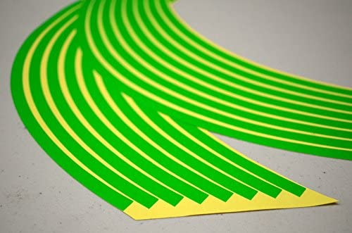 CaliBikerClub Fluorescent Lime Green Rim Tape Decals Wheel Stripes for Motorcycle Wheels 17
