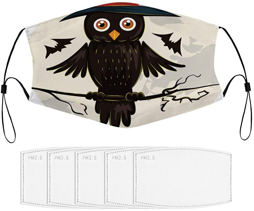 Roupaze Children Face Masks Halloween Owl Windproof Face Mouth Cover Balaclavas for Kids with 5 Filter