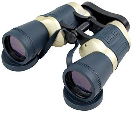 Perrini 30X50 Dark Blue Tan Focus Binoculars With Strap Pouch