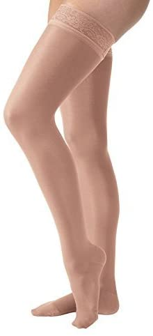 JOBST UltraSheer Thigh High with Lace Silicone Top Band, 15-20 mmHg Compression Stockings, Closed Toe, Medium, Suntan