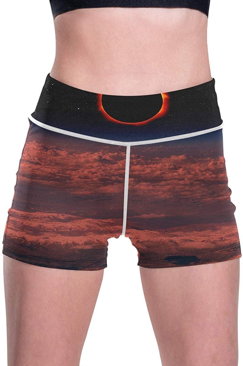 SLHFPX Marvellous Solar Eclipse High Waist Yoga Shorts for Women Soft Sleek Workout Lounge Shorts