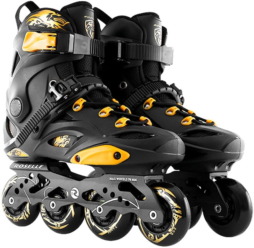 Sunkini Roller Skate Street Skating Shoes Semi-Soft Adjustable Roller Boots Set with Full Light PP Material ABEC-9 Bearing Travel Urban Use,Black