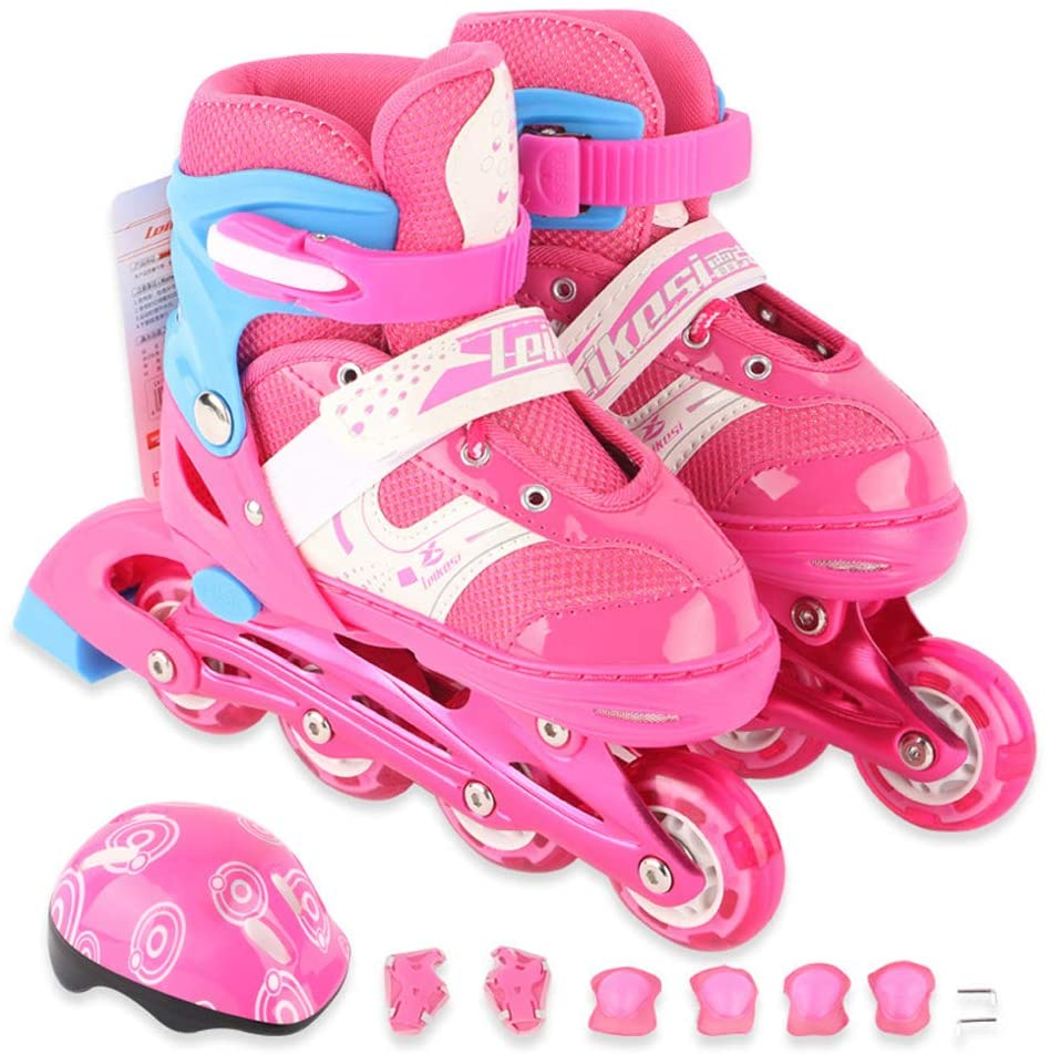 HUATINGRHLW Adjustable Outdoor Roller Skates, Full Flash Roller Skates with Helmet Protection Anti-Impact Toe Cap Durable Inline Roller Skates for Girls and Boys Beginner for Girl Boy, Pink, M
