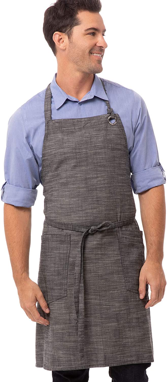 Chef Works Unisex Corvallis Bib Apron, Black/Steel Gray, One Size
