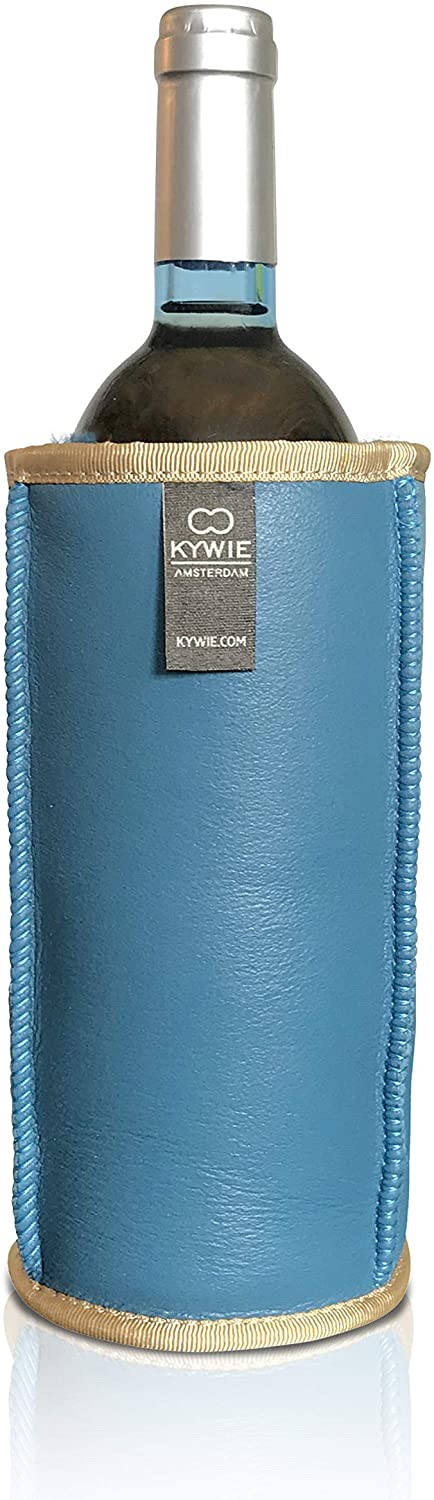 KYWIE Wine Chiller, Insulated Sheep Skin Wine Bottle Sleeve for Red & White Bottles 700mL – Turquiose Leather