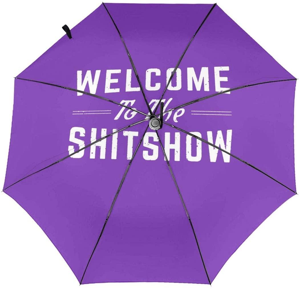 CHAN03 Welcome to The Shitshow Automatic Tri-fold Sunscreen Umbrellas Folding Umbrella