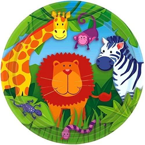 amscan Colorful Jungle Animals Round Dessert Plates, 7