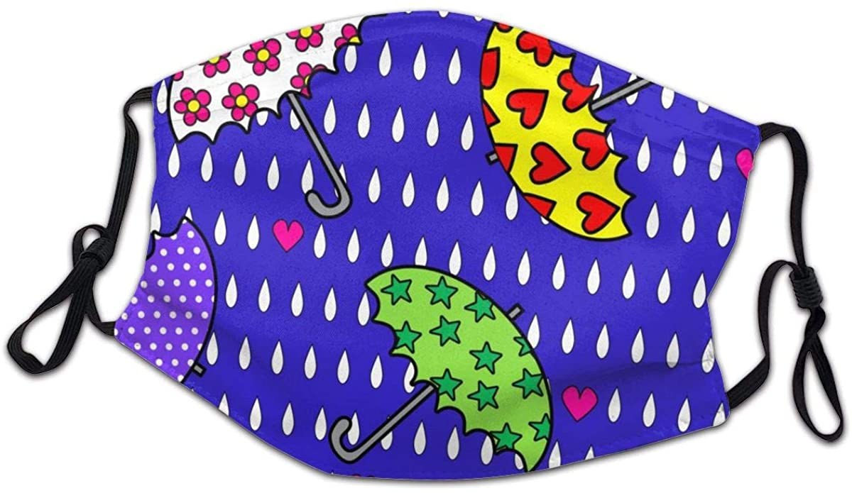 SLHFPX Raindrops and Umbrella Nave Blue Washable Reusable Kids Dust Cover Scarf Bandana for Boys Girls
