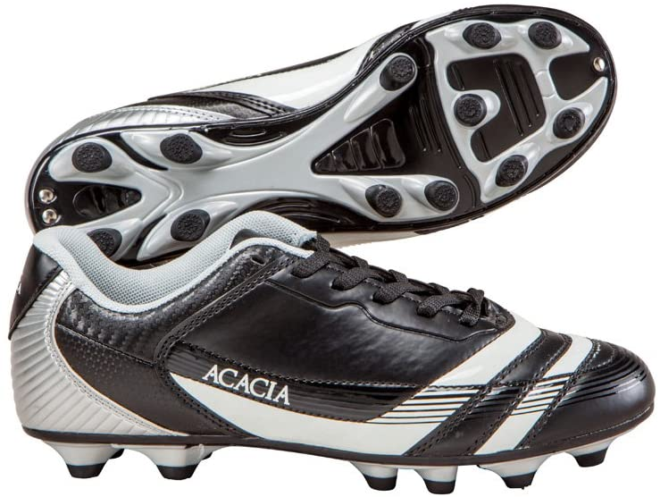 ACACIA Youth Thunder Soccer Shoes, Black/Silver, 11Y