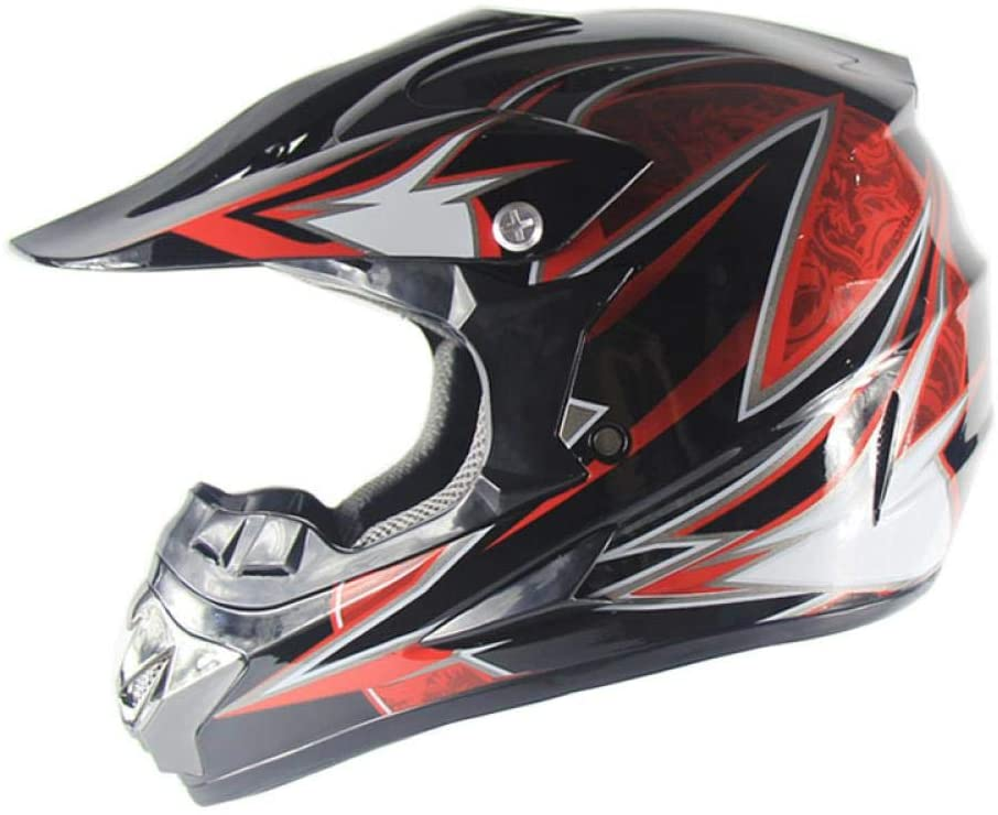 Home bathroom products Motorcycle Helmet, Off-Road Helmet Road Racing Off-Road Helmet for Outdoor Cycling, Black Red 10, M