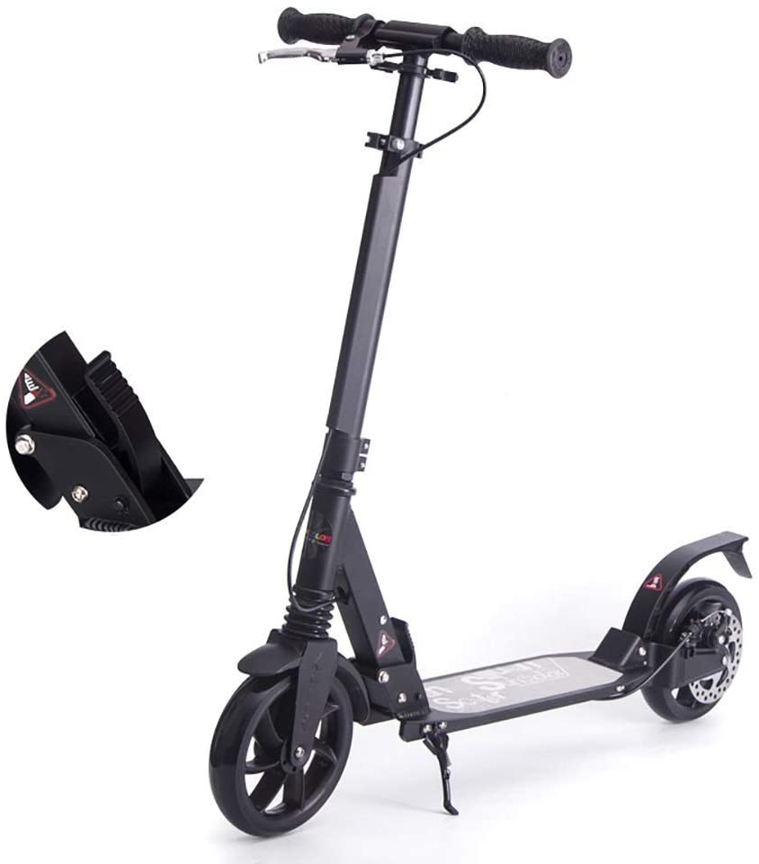 PLLP Adult Kick Scooter Easy Folding, Lightweight Commuter Scooters with Disc Brakes, 2 Big Wheels, 100Kg Weight Capacity, Non-Electric