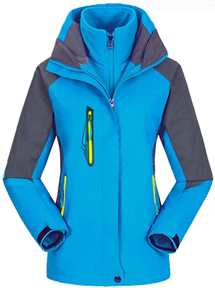 Mochoose Womens Mountain Windproof Waterproof 3 in 1 Fleece Ski Jacket Hooded Rain Coat