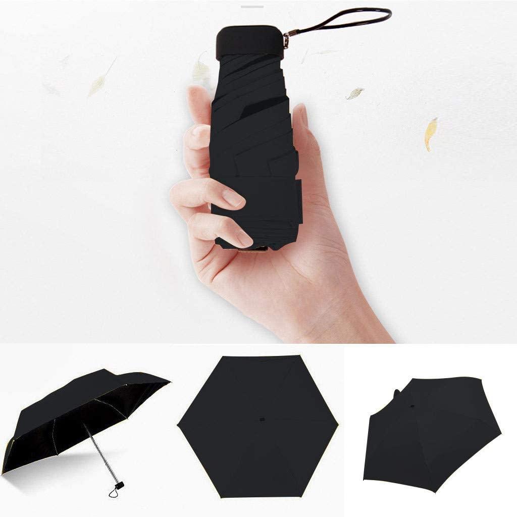 Upgraded 8 Ribs Mini Portable Sun&Rain Lightweight Windproof Umbrella - Compact Parasol Outdoor Travel Umbrella for Men Women Kids